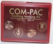Com-Pac Clothing Marking Kit - Rubber Stamp Letters, Handles, Ink & Pads, Mirror, Case