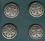 Celtic Cross Buttons - Pewter - 2.2cm - Card of 4