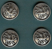 Heraldic Dragon Buttons - Card of 4 - Pewter - 2.2cm