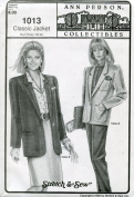 Ann Person Collectibles Stretch & Sew Pattern 1013 ~ Classic Jacket ~ Bust 30-46