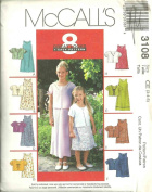 Children's And Girls Dress In Two Lenghts And Unlined Jacket (McCall's Pattern 3108 Size