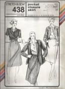 Stretch & Sew 438 Pocket Closure Skirt Pattern - Vintage 70's Pattern - Hip Sizes 30 to 46