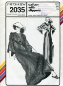 Stretch & Sew Pattern 2035 ~ Caftan with Slippers ~ Small, Medium, Large