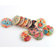 YARUIE 2 Holes Assorted Pattern Round Wooden Buttons Fit Sewing and Scrapbooking 20 MM Burlywood