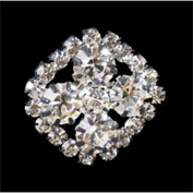 Rhinestone Button BRB-113, 1.9cm Silver Resin Base Button, Each Carded