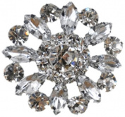 Rhinestone Button BRB-124, 3.2cm Silver Resin Base Button, Each Carded