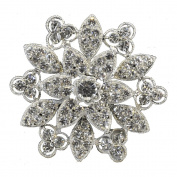 Rhinestone Brooches BW-106 Raised Floral Rhinestone Brooch with Pin