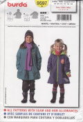 Burda Sewing Pattern 9597 for Girl's Coat, Sizes 3 - 8