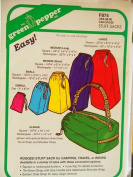 Green Pepper Sewing Pattern F874. Rugged Stuff Sack for Camping; Travel, or Biking. Variety of Sizes with Square or Rectangular Bottom, Inner Flap for Added Protection; Tie-down Strap with Grip Handle Plus Detachable Shoulder Strap; Bottom Grab Strap f ..