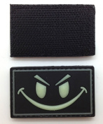 Smiley Face Glow in the Dark PVC IFF hook and loop Patch - Black