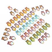 50Pcs Multicolor Wooden Owl Buttons DDStore