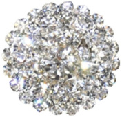Rhinestone Button BRB-100, 1.9cm Silver Resin Base Button, Each Carded