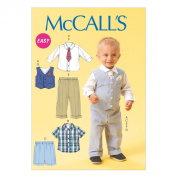 McCall Pattern Company M6873 Infants' Vest, Shirt, Shorts, Pants, Tie and Pocket Square Sewing Template, Size YA5