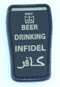 Beer Drinking Infidel PVC hook and loop Patch - Black