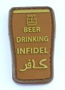 Beer Drinking Infidel PVC hook and loop Patch - Tan