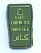 Beer Drinking Infidel PVC hook and loop Patch - OD Green