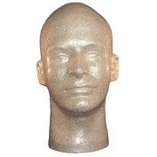 Male Head, Styrofoam. Tan