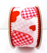 Jo-ann's Holiday Inspirations Gingham Hearts Ribbon,white/red,3.8cm x 12ft.