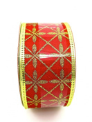 Jo-ann's Holiday Inspirations Red Royal Glitter Ribbon,gold Glitter,3.8cm x 12ft.