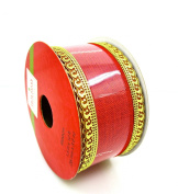 Jo-ann's Holiday Red Linen Ribbon,red Linen/gold Lacey Wire Trim,3.8cm x 12ft.