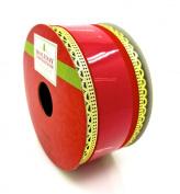 Jo-ann's Holiday Red Velour Ribbon,red Velvet/gold Wire Trim,3.8cm x 12ft.