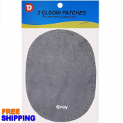 2/pkg Sew-on 12cm x 17cm Grey Suede Cowhide Elbow Patches