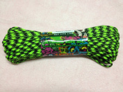 Neon Green and Black Zombie Colour 7 Strand 550 Paracord Made in USA 100ft Parachute Cord