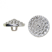 C & C Metal Products 5041 Beaded Flower Metal Button, Size 36 Ligne, Nickel, 36-Pack