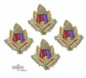 Dress Appliqués Home Decor Craft Fabric Women Sari Indian Patches Traditional Crafted Beaded Green Handmade Appliqué Royal Costume Decorative Patch 10 Pcs.