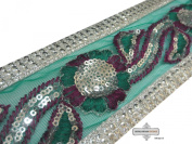 Indian Sari Border Decorative Green Lace Craft Embroidered Home Decor Fabric Trim 1 Yard Ribbon Apprael Sewing 6.9cm Wide.