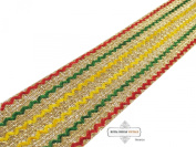 Indian Sari Border. Craft Woven Fabric Lace Home Decor Trim Sewing Yellow Ribbon Recycled Fabric Decorative Hand Crafted Apparel