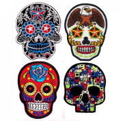 Lot of 4 Mexican Sugar Skull Art Punk Rock Cool Embroidered Iron On Patches #14