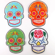Lot of 4 Mexican Sugar Skull Art Punk Rock Embroidered Iron On Patches #39