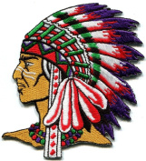 Native American Indian Chief Ethnic Retro Biker Applique Iron-on Patch New S-250 Handmade Design From Thailand
