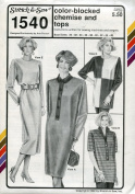 Stretch & Sew Women's Pattern 1540 ~ Colour-Blocked Chemise Dress & Tops ~ Bust 30-46