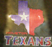 Texas Map with Texans Rhinestone Transfer Iron On