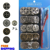 #12 Popular 20mm Jean Tack Buttons, Set 50 with Tool