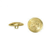 C & C Metal Products 5023 7 Point Crown Metal Button, Size 36 Ligne, Gold, 36-Pack