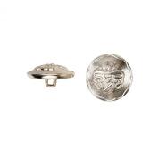 C & C Metal Products 5029 Heraldic Metal Button, Size 36 Ligne, Nickel, 36-Pack