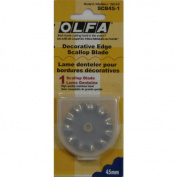 Fabric Rotary Cutter 45mm Scallop & Peak Replacement Blade By Olfa