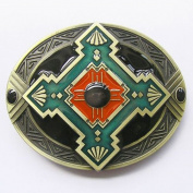 new western cool native American style enamelled belt buckle WT059AB
