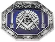 Mason Octagon Shape Blue Silver Colour Metal Belt Buckle
