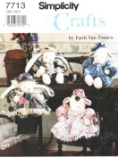 Simplicity 7713 Stuffed Bunny & Lamb with Clothes Sewing Pattern