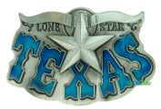 The State Of Texas Lone Star State Longhorn Pewter Blue Large Belt Buckle