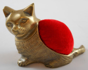 Brass Kitten Pincushion