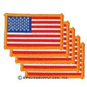 American Flag Patch (Dark Gold Border) 5 PACK