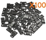 Cosmos ® 100 PCS 1cm Black Colour Flat Shape Plastic Side Release Plastic Buckles with Cosmos Fastening Strap