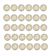 2013newestseller 30pcs Beautiful Beige Crystal Metal Rhinestone Pearl Bottons Buckles DIY Sewing Fasteners Accessories