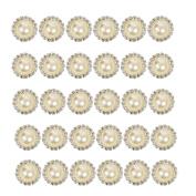 2013newestseller 30pcs Beautiful Beige Crystal Metal Rhinestone Pearl Bottons Buckles DIY Sewing Fasteners Accessories