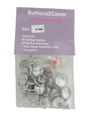 Buttons2Cover Crafter's Starter Pack Cover Buttons Size 24 (1.6cm ) Wire Back